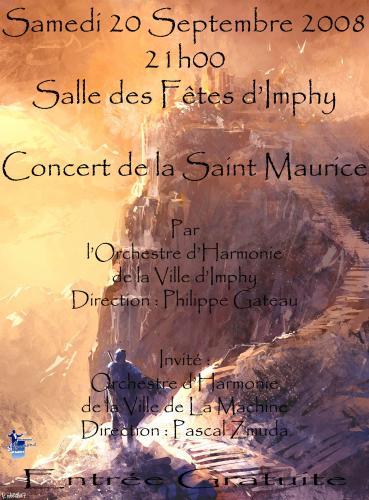 Affiche du concert de Saint Maurice, 20 Septembre 2008, 21h, Imphy