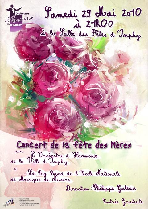 Affiche du concert de la Fête des Mères 2010 par l'Orchestre d'Harmonie de la Ville d'Imphy