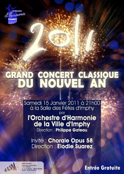 affiche du concert du nouvel an 2011 de l'harmonie d'imphy