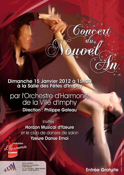 Affiche du Concert du Nouvel An 2012 de l'Orchestre d'Harmonie de la Ville d'Imphy