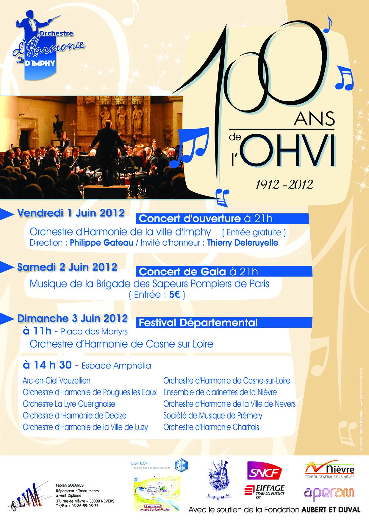 Programme du centenaire de l'Orchestre d'Harmonie de la Ville d'Imphy